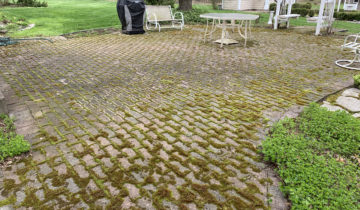 PREVENTING MOSS, ALGAE & WEEDS IN BRICK PAVERS IN BLOOMFIELD HILLS MICHIGAN