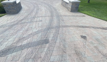 Tar Removal from Brick Paver Driveway in Oakland County, Michigan